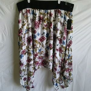 Robert Louis Ivory Floral Asymmetrical Skirt 3X